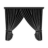 Curtains with drapery on the cornice.Curtains single icon in blake style vector symbol stock illustration web. Royalty Free Stock Photo