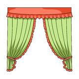Curtains with drapery on the cornice.Curtains single icon in cartoon style rater,bitmap symbol stock illustration web. Royalty Free Stock Photo