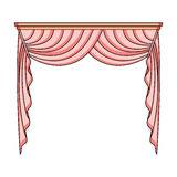 Curtains with drapery on the cornice.Curtains single icon in cartoon style rater,bitmap symbol stock illustration web. Royalty Free Stock Images
