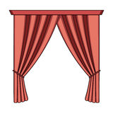 Curtains with drapery on the cornice.Curtains single icon in cartoon style rater,bitmap symbol stock illustration web. Royalty Free Stock Photos