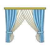 Curtains with drapery on the cornice.Curtains single icon in cartoon style rater,bitmap symbol stock illustration web. Stock Image