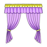 Curtains with drapery on the cornice.Curtains single icon in cartoon style rater,bitmap symbol stock illustration web. Royalty Free Stock Photography