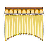 Curtains with drapery on the cornice.Curtains single icon in cartoon style vector symbol stock illustration web. Stock Images