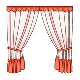 Curtains with drapery on the cornice.Curtains single icon in cartoon style vector symbol stock illustration web. Stock Photography