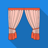 Curtains with drapery on the cornice.Curtains single icon in flat style vector symbol stock illustration web. Royalty Free Stock Images