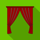Curtains with drapery on the cornice.Curtains single icon in flat style vector symbol stock illustration web. Stock Image