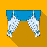 Curtains with drapery on the cornice.Curtains single icon in flat style vector symbol stock illustration web. Royalty Free Stock Photo