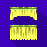 Curtains with drapery on the cornice.Curtains single icon in flat style vector symbol stock illustration web. Stock Images