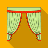 Curtains with drapery on the cornice.Curtains single icon in flat style vector symbol stock illustration web. Royalty Free Stock Photography