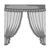 Curtains with drapery on the cornice.Curtains single icon in monochrome style vector symbol stock illustration web. Stock Images