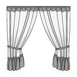 Curtains with drapery on the cornice.Curtains single icon in monochrome style vector symbol stock illustration web. Royalty Free Stock Photos