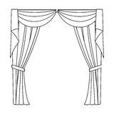 Curtains with drapery on the cornice.Curtains single icon in outline style vector symbol stock illustration web. Stock Images