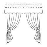 Curtains with drapery on the cornice.Curtains single icon in outline style vector symbol stock illustration web. Royalty Free Stock Image