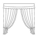 Curtains with drapery on the cornice.Curtains single icon in outline style vector symbol stock illustration web. Royalty Free Stock Photo