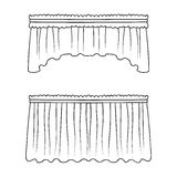 Curtains with drapery on the cornice.Curtains single icon in outline style vector symbol stock illustration web. Royalty Free Stock Photos