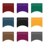 Curtains with drapery on the cornice.Curtains single icon in blake style vector symbol stock illustration web. Royalty Free Stock Images