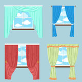 Curtains drapery shades blinds.Vector collection of various window Royalty Free Stock Photo