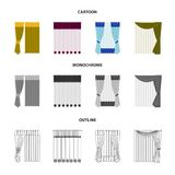 Curtains, drapes, garters, and other web icon in cartoon,outline,monochrome style. Textiles, furniture, bow icons in set. Curtains, drapes, garters, and other Royalty Free Stock Image