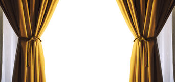 Curtains empty free white space frame. Gold color. PNG available. Curtains with free frame. Gold colored curtains. Rope that holds them closed. Empty space for vector illustration