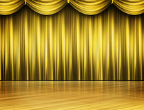 Curtains in gold. Colorful designer curtains in gold Royalty Free Stock Photos