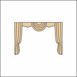 Curtains Interior design sketch.Window curtains Royalty Free Stock Photo
