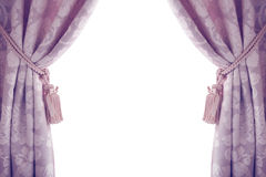 Curtains isolated on white background, purple.  stock image