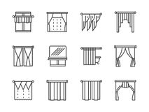 Curtains and lambrequin black line icons Royalty Free Stock Images