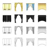 Curtains, lambrequins, ralets, and other web icon in cartoon style.Design, frills, textiles icons in set collection. Curtains, lambrequins, ralets, and other stock illustration