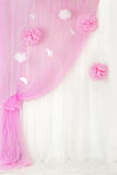 Curtains pink background, blank interior room for girl Stock Photos
