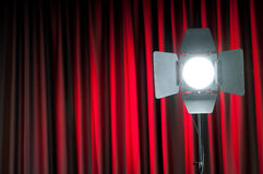 Curtains and projector Stock Images