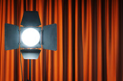 Curtains and projector lights wtih space for  text Royalty Free Stock Photos
