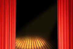 Curtains in red. Red velvet stage theater curtains and wooden floor Royalty Free Stock Images