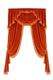 Curtains. Red curtains on a white background stock photo
