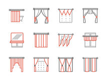 Curtains salon black and red line icons Stock Photo