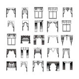 Curtains. Sketch design curtains windows Royalty Free Stock Images