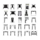 Curtains. Sketch design curtains windows Stock Photo