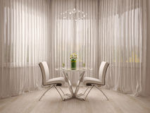 Curtains and a table Royalty Free Stock Photo
