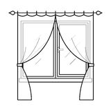 Curtains in thin linear style. Royalty Free Stock Photo