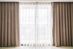 Curtains window. Decoration interior of room stock photography