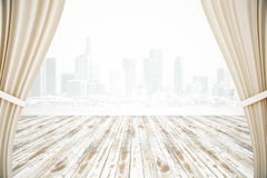 Curtains and wooden surface Royalty Free Stock Photography