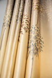 Curtains. Yellow curtains in Chateau de Versailles stock photography