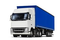 Curtainsider semitrailer with canvas top. 3D illustration of truck and curtainsider semitrailer with canvas top, isolated on white Stock Images