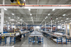 Curtainwall assembly line. Assembly line of curtainwall glazing factory Stock Photos