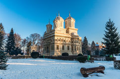 Curtea de Arges修道院在冬天,罗马尼亚 库存照片