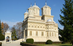 Architecture in Romania: Curtea de Arges White Mon Royalty Free Stock Images