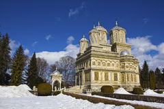 Curtea de Arges monastery in winter Royalty Free Stock Image