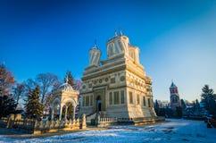 Curtea de Arges monastery in winter, Romania royalty free stock photos