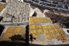 Curtiduría de Fes, Marruecos Fotografía de archivo libre de regalías