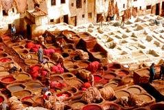 Curtiduría, Fes Marruecos Imagen de archivo libre de regalías
