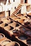 Curtidurías de cuero en Fes, Marruecos Imagen de archivo